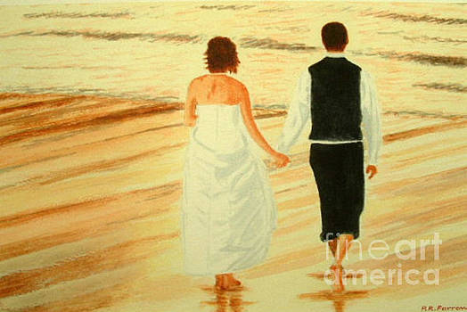 Bride and Bridegroom - Beachwalk at Sunset by Peter Farrow