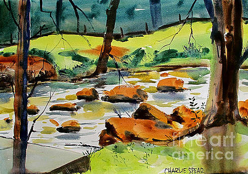 Bridge Across Tadpole Creek Maconaquah plein air framedah Park by Charlie Spear