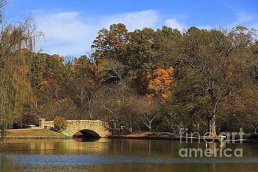 Jill Lang - Bridge at Lake in the Fall