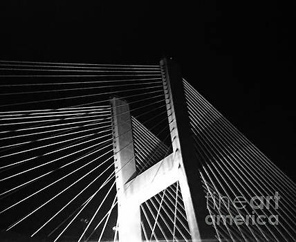 Bridge at Night Black and White by Robin Lewis