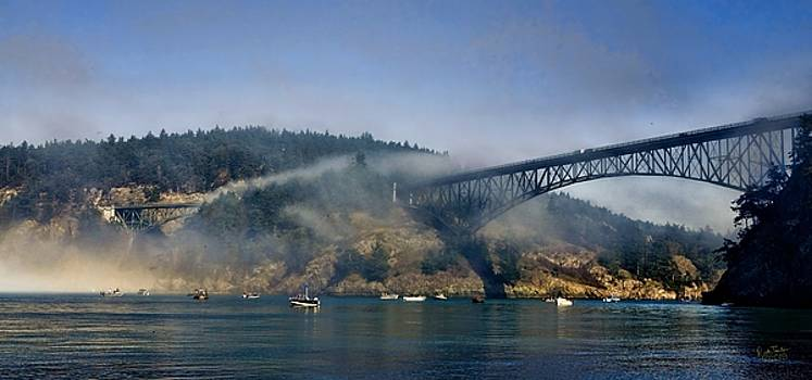 Bridge Boats and Fog by Rick Lawler