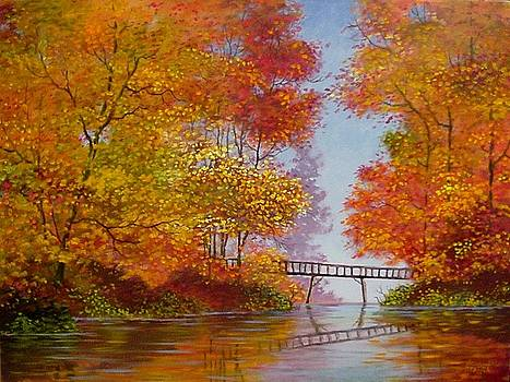 Bridge into Autumn III by Jim Stratton