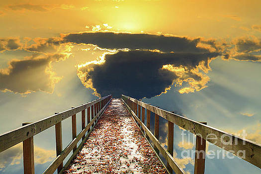 Bridge into Sunset by Inspirational Photo Creations Audrey Woods