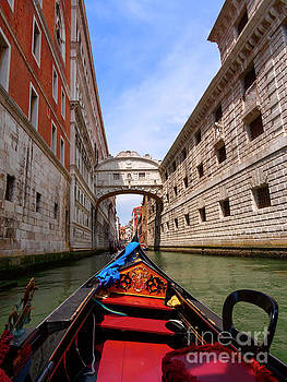 Bridge of Sighs from a gondola in Venice Italy by Louise Heusinkveld