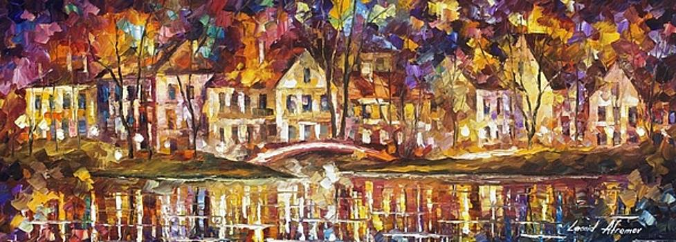 Bridge Of The Old Village - PALETTE KNIFE Oil Painting On Canvas By Leonid Afremov by Leonid Afremov