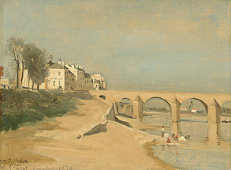 Bridge On The Saone River At Macon by Jean-Baptiste-Camille Corot