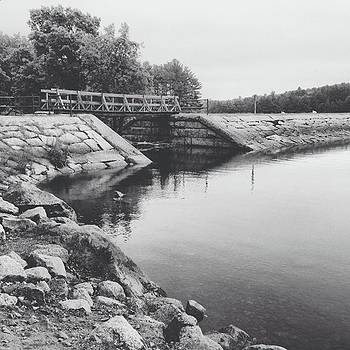 Bridge Over Water In Black And White by Amanda Richter