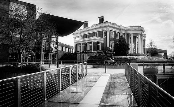 Bridge To Hunter Museum In Black and White by Greg Mimbs