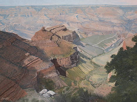 Bright Angel trail looking north to Plateau Point, Grand Canyon by Barbara Barber