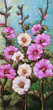 Bright Hollyhocks by Becky Schultea