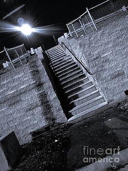 Bright Night Stairs - bw by SimbiAni