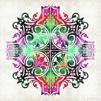 Sharon Cummings - Bright Pattern Art - Color Fusion Design 9 By Sharon Cummings