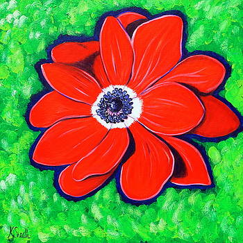 Bright Red Windflower by Kirsten Sneath