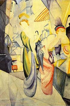 August Macke - Bright Women In Front Of A Hat Shop