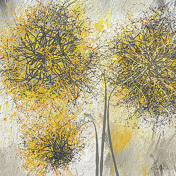 Brighter Blooms - Yellow and Gray Modern Artwork by Lourry Legarde