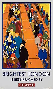 Brightest London is best reached by Underground, subway poster, 1924 by Vintage Printery
