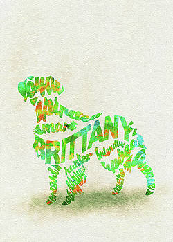 Brittany Spaniel Watercolor Painting / Typographic Art by Ayse and Deniz