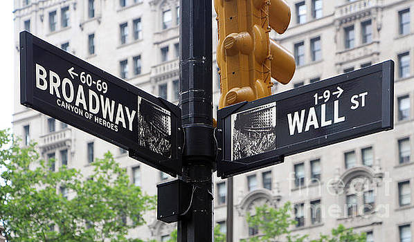 Broadway and Wall Street Street Sign 2 by Nishanth Gopinathan