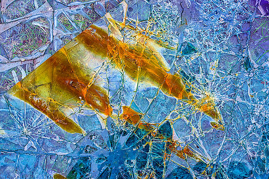 Broken glass abstract art blue and orange by Matthias Hauser