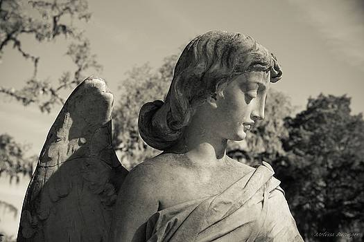 Broken Wing Cemetery Angel Black and White by Melissa Bittinger