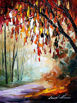 Bronze Autumn - PALETTE KNIFE Oil Painting On Canvas By Leonid Afremov by Leonid Afremov