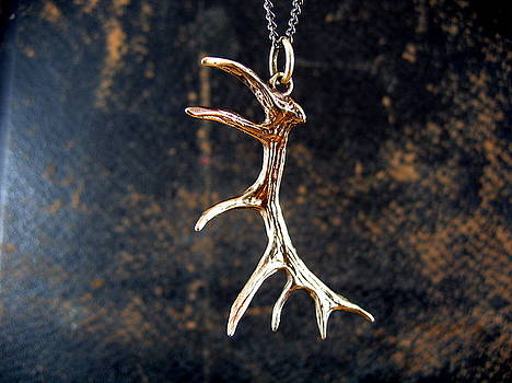 Bronze Imperial Elk Antler Pendant by Michael  Doyle