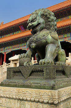 Reimar Gaertner - Bronze male lion symbol of power at the Gate of Supreme Harmony