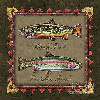 Jon Wright - Brook Trout And Rainbow Trout Print