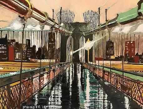 Brooklyn Bridge at night after the rain by Gary Springer