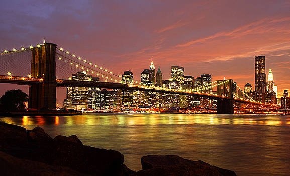Brooklyn Bridge at Night by Holger Ostwald