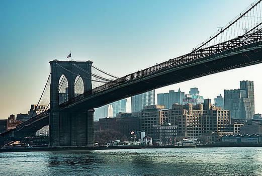 Brooklyn Bridge East River by Alida Thorpe