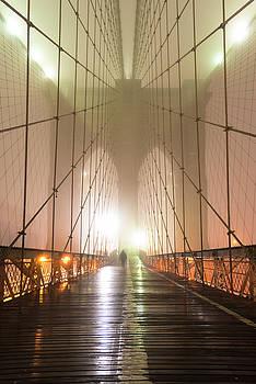 Brooklyn Bridge in Fog by Randy Lemoine