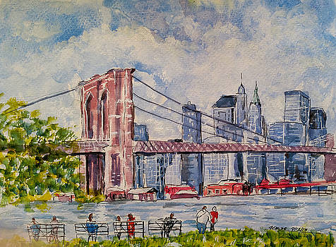 Relaxing by the Brooklyn Bridge by Lucille Femine