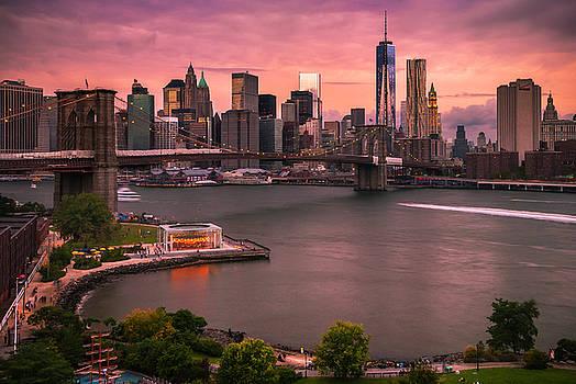Ranjay Mitra - Brooklyn Bridge over New York Skyline at Sunset