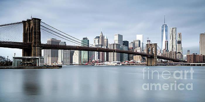 Brooklyn Bridge Panorama Color by John Farnan