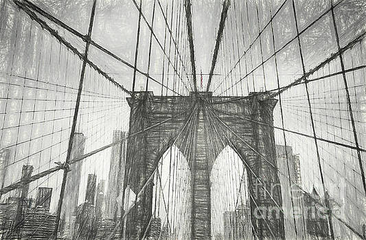 Brooklyn Bridge Sketch by Erika Weber