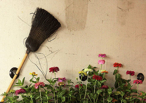 Broom and Zinnias in a Truck by Kelly Lucero