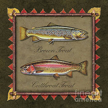 Jon Wright - Brown And Cutthroat Trout Print