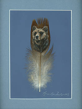 Brown Bear Painted Feather by Brandy Woods