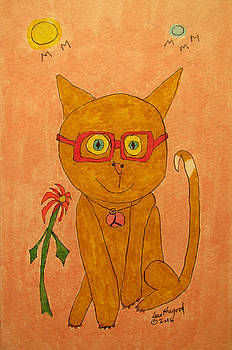 Brown Cat With Glasses by Lew Hagood