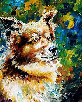 Brown Dog - PALETTE KNIFE Oil Painting On Canvas By Leonid Afremov by Leonid Afremov