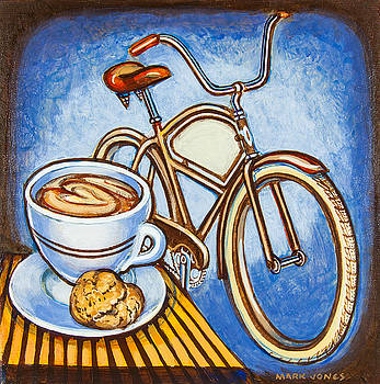 Brown Electra delivery bicycle coffee and amaretti by Mark Howard Jones