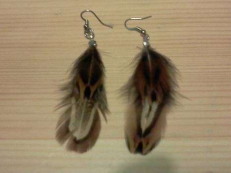 Brown Feather Earrings by Kendell Tubbs