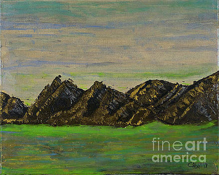 Brown Mountain with green lake by Escudra Art