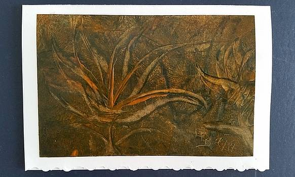Brown, orange floral abstract by Lorraine Bradford