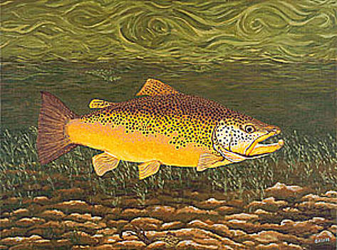 Baslee Troutman - Brown Trout Fish Art Print Touch Down Brown Trophy size Football shape Brown Trout Angler Angling