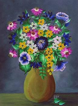 Brown Vase With Flowers by Iris  Mora