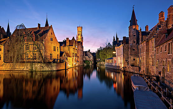 Bruges Canals at Blue hour by Barry O Carroll
