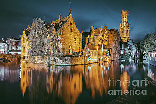 Brugge at Night by JR Photography