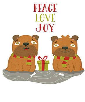 Brussels Griffon Peace Love Joy by Nicole Wilson